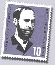 A German stamp from 1957 with the portrait of Heinrich Hertz